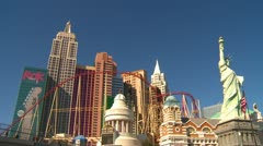 Las Vegas Strip, day, wide NYNY sunny cool autumn day Stock Footage