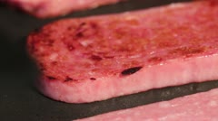 Frying Spam with Foreground Flip Stock Footage