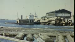 Tugboat Pushes Old Growth Logs Sawmill 1940s Vintage Film Movie Archival 1434 Stock Footage