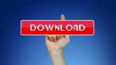 Hand pressing virtual Download button Stock Footage