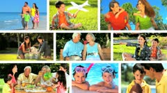 Montage of Caucasian Family Generations Outdoor Lifstyle Stock Footage