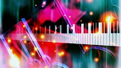 Piano Music Looping Animated Background Stock Footage