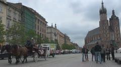 View to St. Mary's Basilica, Krakow, Poland Stock Footage