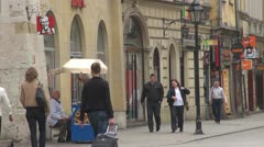 Shops in Old Town, Krakow, Poland Stock Footage