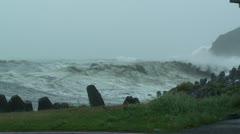Hurricane Storm Surge Waves Crash Ashore - stock footage