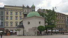 The Church of St. Adalbert, Market Square, Old Town, Krakow, Poland. Stock Footage