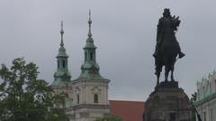 The Church of St. Florian and The Grunwald Monument, Krakow, Poland Stock Footage