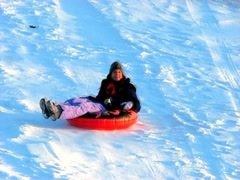 Solo snow tubing Stock Footage