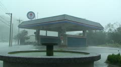 Hurricane Winds Blast Through Gas Station - stock footage