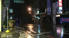 Debris Flies Down Street In Hurricane - stock footage