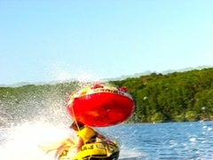 Pond tubing doubles - stock footage