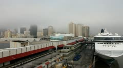 Timelapse of foggy New Orleans, with cruise ship in port. Stock Footage