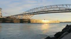 Blue Water Bridge Freighter Sunset Stock Footage