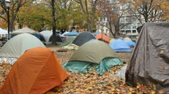 Occupy Toronto. Tents. Stock Footage