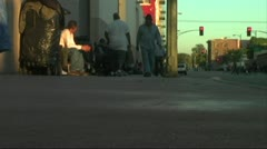 Skid Row Homeless People in Poverty Los Angeles Stock Footage