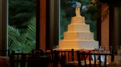Wedding Cake in Banquet Hall Stock Footage