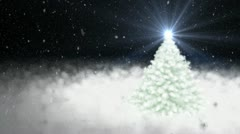 New Year's snow-covered fur-tree and falling snow Stock Footage