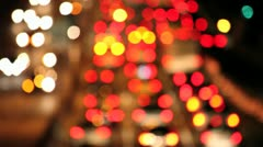 Traffic at night blur out of focus Stock Footage