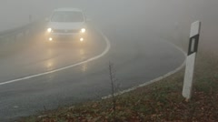 Dense fog on the countryroad Stock Footage