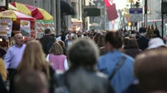 Crowd walking manhattan street city urban 5th avenue - stock footage