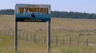 Stock Video Footage of Welcome To Wyoming Sign