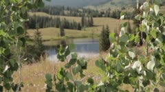 Mountain Lake through Aspen Leaves 01 Stock Footage