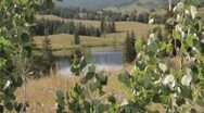Stock Video Footage of Mountain Lake through Aspen Leaves 01