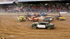 Demolition derby 15 car by crowd - stock footage