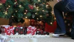 Christmas Presants Under the Tree Stock Footage