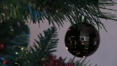 Stock Video Footage of Christmas Tree Ornaments and Lights 5