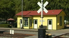 Old Fashioned Train Depot Stock Footage