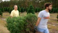 Father and Son Carrying a Christmas Tree Stock Footage