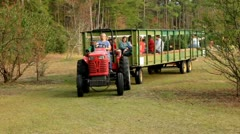 Hayride Wagon Drives By Stock Footage