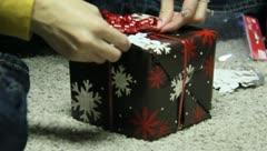 Wrapping Christmas Presants 12 Stock Footage