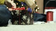 Stock Video Footage of Wrapping Christmas Presants 15