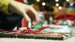 Wrapping Christmas Presants 21 Stock Footage