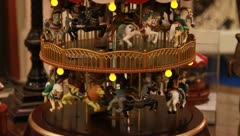 Old children's wooden carousel Stock Footage
