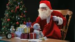 Santa with sack Stock Footage