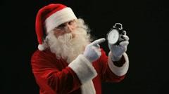 Santa with clock Stock Footage