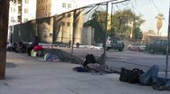 Stock Video Footage of Homess People Sleeping on the Streets of Los Angeles HD