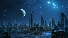 City of aliens. - stock footage