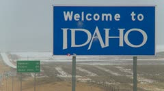 Idaho state border in a snow storm, Stock Footage