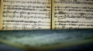 Sheet music, notes, light Stock Footage