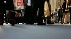 Shoppers walking down nyc sidewalk Stock Footage