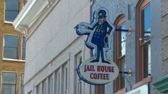 Butte Montana city center, Jail house cafe sign Stock Footage