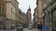 Time lapse of St. Mary's Basilica in Old Town, Krakow, Poland Stock Footage