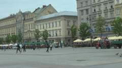 Time lapse of people walking in the main Market Square, Old Town, Krakow Stock Footage