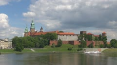 Time lapse Wawel Castle Krakow Poland landmark tourism attraction lake famous Stock Footage