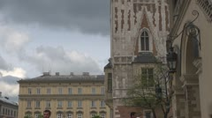 View to Town Hall Tower in the main Market Square, Old Town, Krakow, Poland. Stock Footage