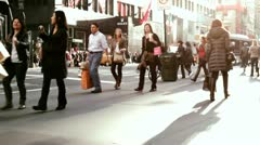 People walking on the streets of New York City Stock Footage